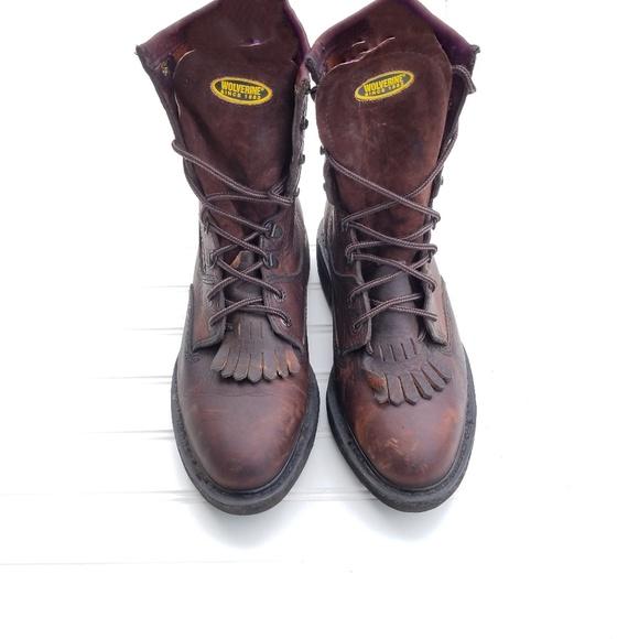 8ed54fc7dd1 Wolverine Durashock Leather Boots Size 9